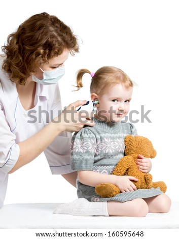 doctor measuring  temperature kid girl isolated - stock photo