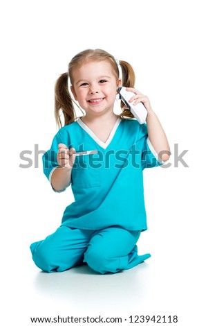 doctor measuring  temperature kid girl isolated on white background - stock photo