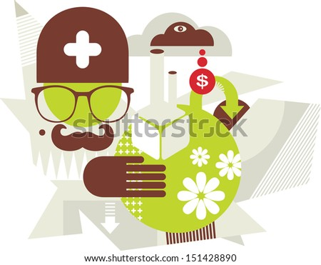 Doctor nature. Vector illustration of hipster. - stock photo