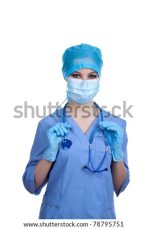 Doctor / nurse attractive beautiful eyes in surgeon blue mask. Portrait of confident young caucasian cute woman model in blue medical scrub. Isolated over white background. with copy space. - stock photo