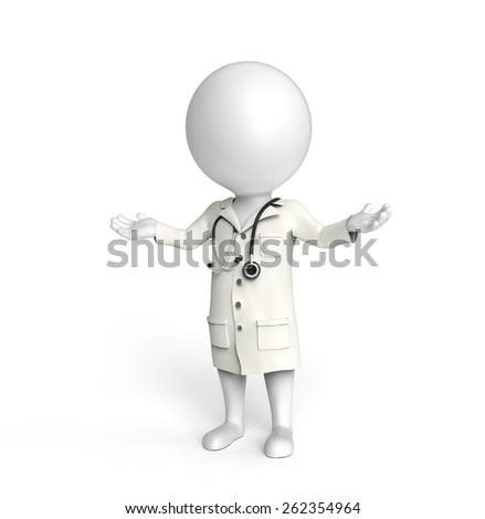Doctor on white - stock photo