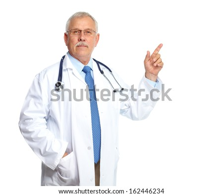 Doctor physician inviting Isolated on white background. - stock photo