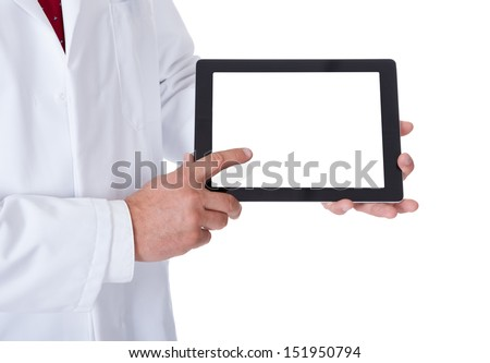 Doctor presenting empty tablet. Isolated on white backround - stock photo