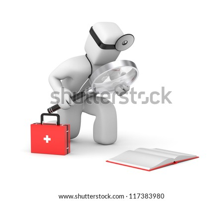 Doctor read book - stock photo