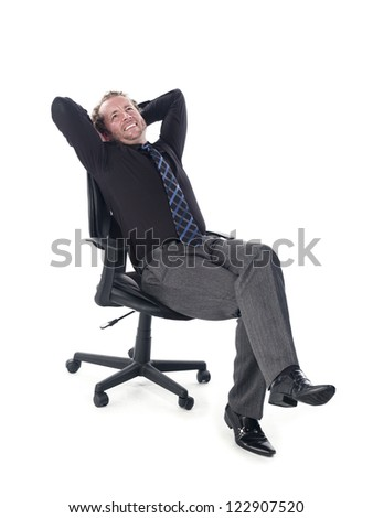 Doctor relaxing on chair against white background