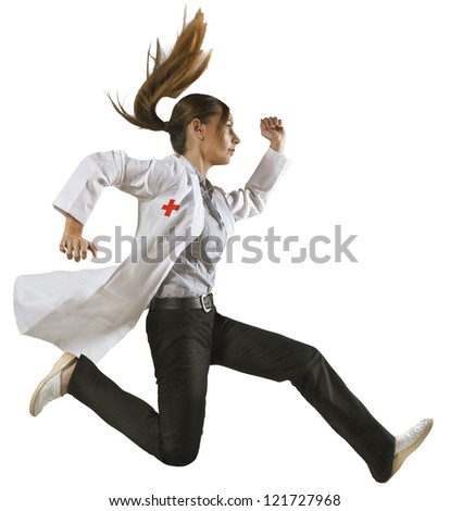 Doctor running over isolated background. Woman medical professional - stock photo