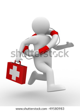 doctor runs to aid. Isolated 3D image - stock photo