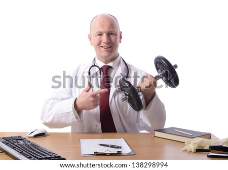 doctor sat at desk points to a weight prescribing exercise isolated on white - stock photo