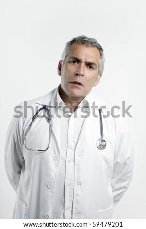 doctor senior expertise gray hair confident on white - stock photo