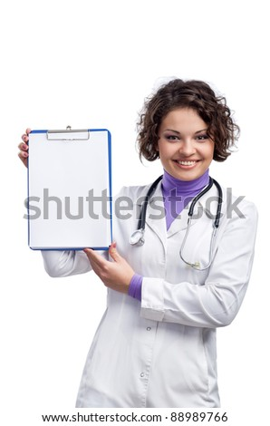 doctor showing clipboard with copy space for text or design