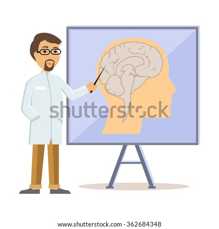 Doctor showing human brain flat design. Human head, human anatomy, medicine care, medical health human, hospital and professional specialist illustration. Raster version - stock photo