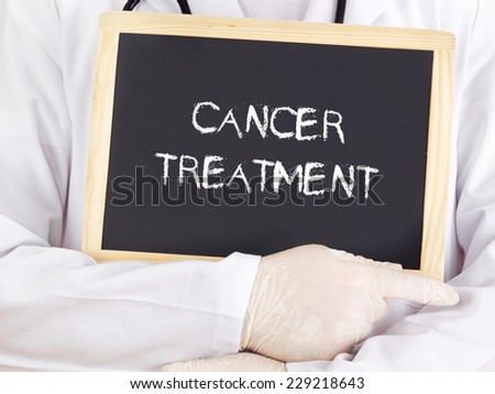 Doctor shows information: cancer treatment