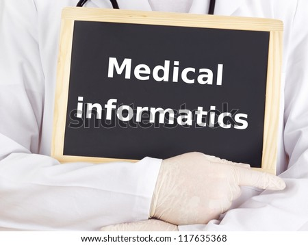 Doctor shows information: medical informatics
