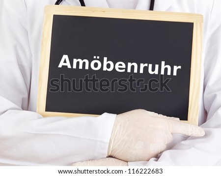 Doctor shows information on blackboard: amoebiasis