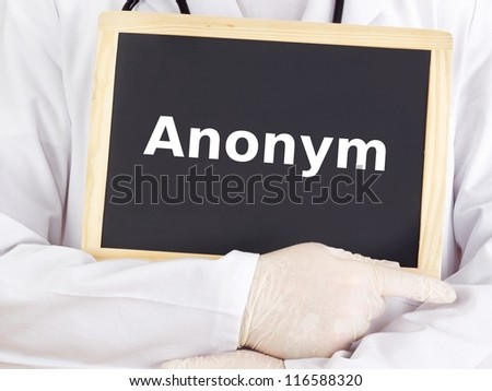 Doctor shows information on blackboard: anonym