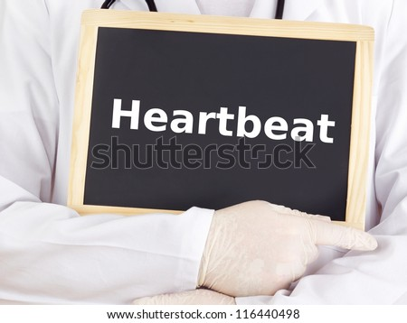 Doctor shows information on blackboard: heartbeat