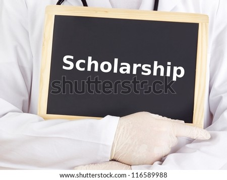 Doctor shows information on blackboard: scholarship