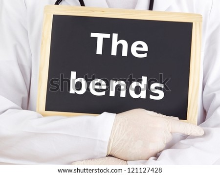 Doctor shows information on blackboard: the bends