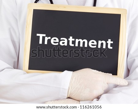 Doctor shows information on blackboard: treatment