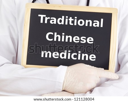 Doctor shows information: traditional chinese medicine