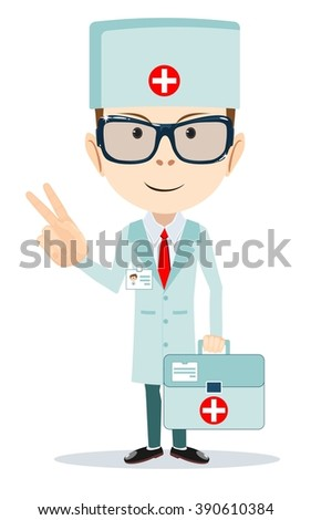 Doctor shows sign of victory. Stock illustration - stock photo
