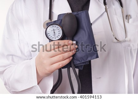 Doctor standing with blood pressure gauge, sphygmomanometer, in the hand, ready for the medical check up