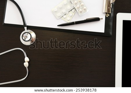 Doctor table, close up - stock photo