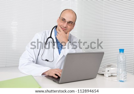 doctor thinking in his office