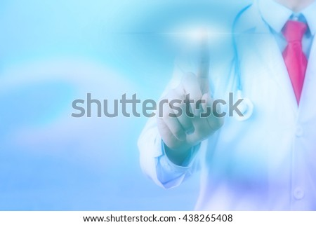 Doctor touching on virtual screen with copyspace - stock photo
