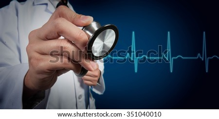 Doctor use stethoscope with heart beat graph in background
