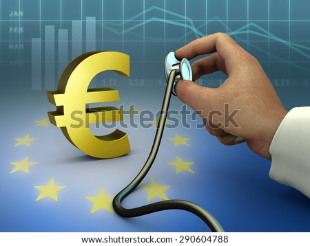 Doctor using a stethoscope to check a gold euro symbol. Digital illustration. - stock photo