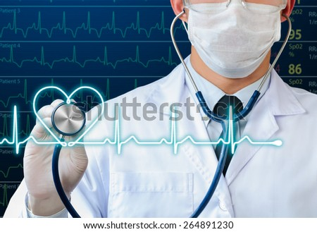 doctor using stethoscope to listening glow heart beat - stock photo