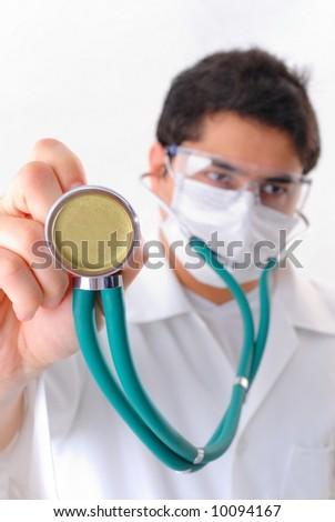 Doctor using the stethoscope - Medical Concept .