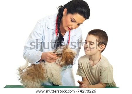 Doctor vet checking puppy ears and the child looking with admiration over white background - stock photo