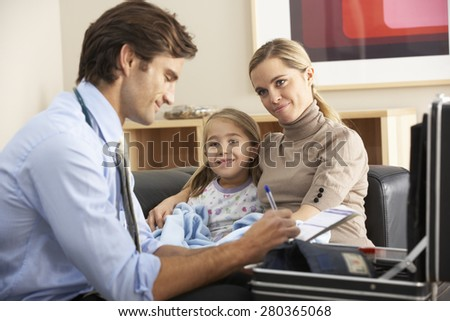Doctor visiting sick child and mother at home - stock photo