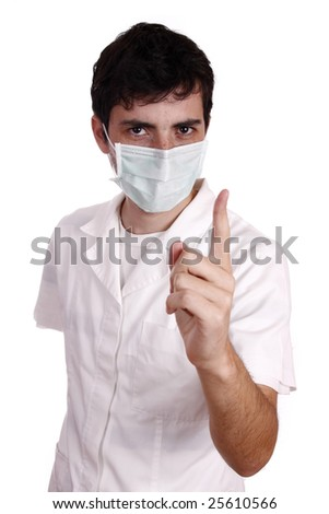 Doctor wearing a medical mask and pointing the finger to the patient - healthy life concept