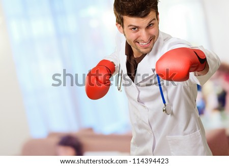 Doctor Wearing Boxing Gloves, Indoor