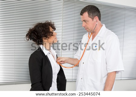 Doctor Who examine a woman stressed business - stock photo