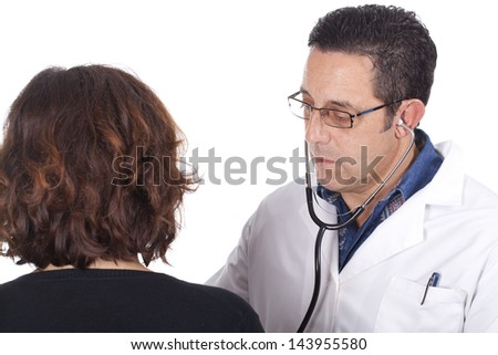 Doctor with a patient middle-aged - stock photo