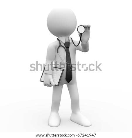 Doctor with a stethoscope auscultation - stock photo