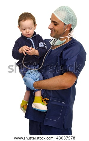 Doctor with baby playing with stethoscope isolated in white - stock photo