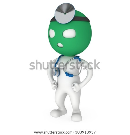 Doctor with balaklava mask and stethoscope and mirror on his head. 3d render man isolated on white. Medicine and healthcare concept.