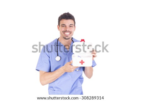 Doctor with box - stock photo