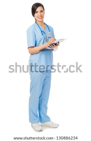 Doctor with clipboard isolated on white