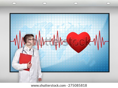 doctor with clipboard looking to screen with pulse symbol - stock photo