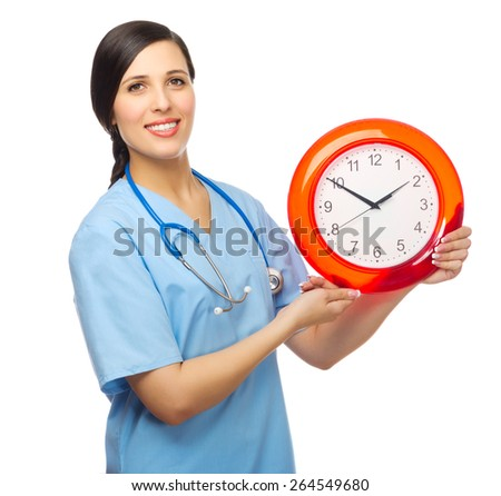Doctor with clock isolated on white - stock photo