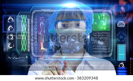 Doctor with futuristic hud screen tablet. Neurons, brain impulses. Medical concept of the future.