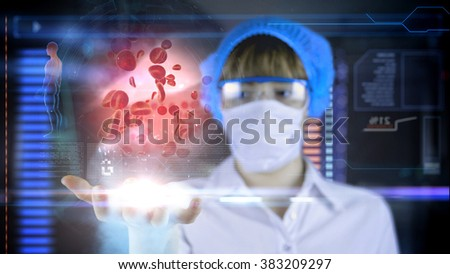 Doctor with futuristic hud screen tablet. Red blood cell, eritrocite. Medical concept of the future.