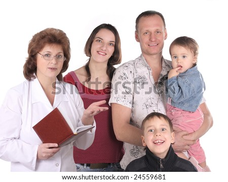 doctor with happy family