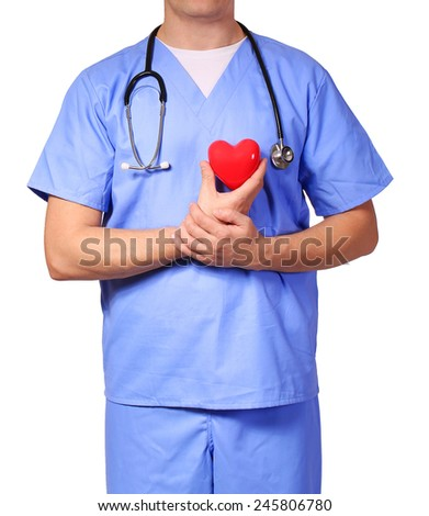 Doctor with heart expressing care, isolated on white - stock photo